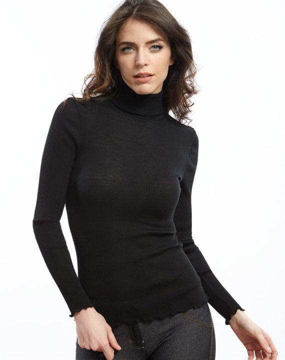 Oscalito donna: maglia lana seta collo alto