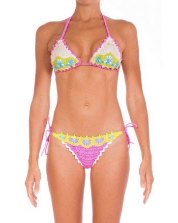 Bikini Pin Up Stars crochet rosa fronte