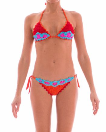 Bikini Pin Up Stars crochet arancio fronte