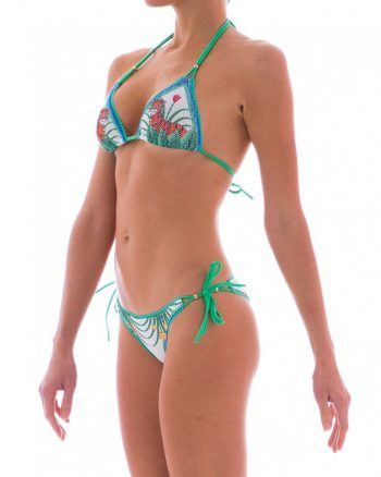 Stampa Jungle e rete per questo splendido bikini Pin Up Stars bianco