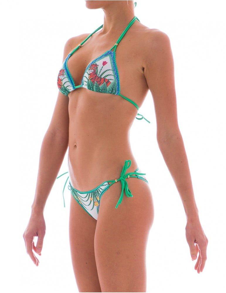 Stampa Jungle e rete per questo splendido bikini Pin Up Stars bianco