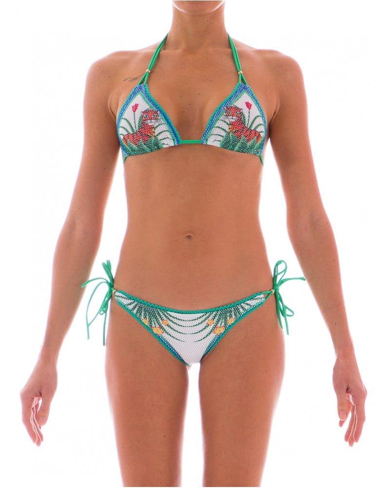 Stampa Jungle e rete per questo splendido bikini Pin Up Stars