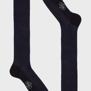 Calza Gallo Lunga Uomo Cotone Twin Rib Blu Azzurro – Tailoring