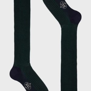 Calza Gallo Lunga Uomo Cotone Twin Rib Blu Verde – Tailoring