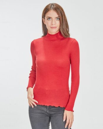 Lupetto Oscalito Lana Seta Costina Manica Lunga Rosso