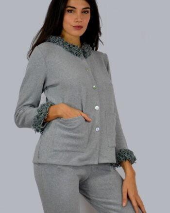 Giada Pigiama manica lunga caldo cotone colori grigio - panna