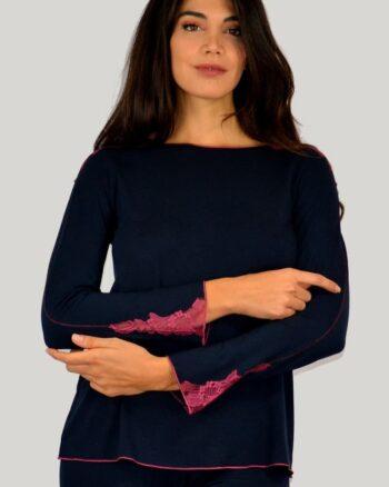 Annette Pigiama manica lunga micromodal inserti in pizzo blu