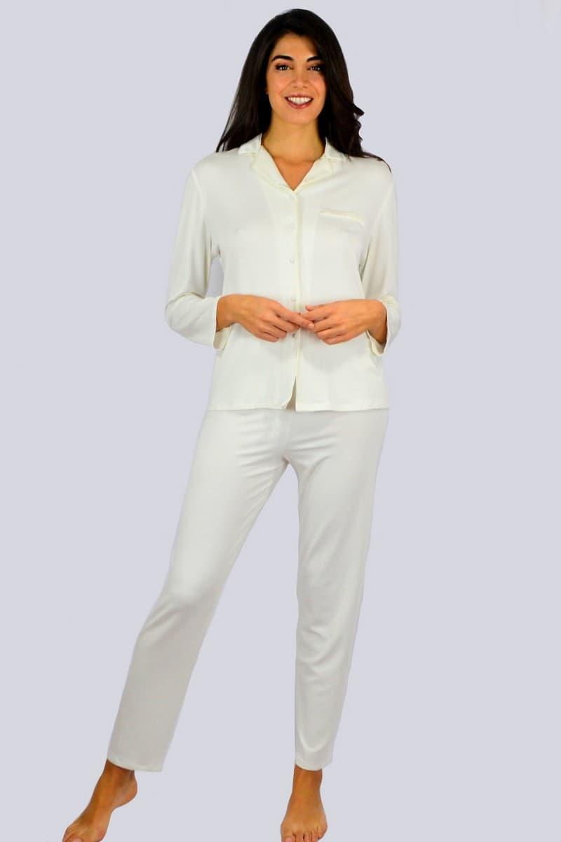 Giada pigiama manica lunga modello ominile colori panna - ottanio