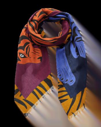 Inouitoosh Sciarpa Iris & Jacques fantasia doppia tigre colore blu