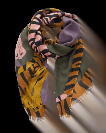 Inouitoosh Sciarpa Iris & Jacques fantasia doppia tigre colore giallo