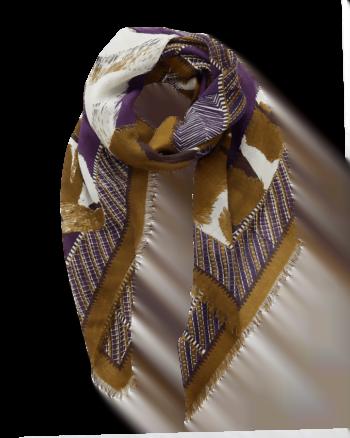 Inouitoosh Sciarpa Jean fantasia tigre e uccello colore viola