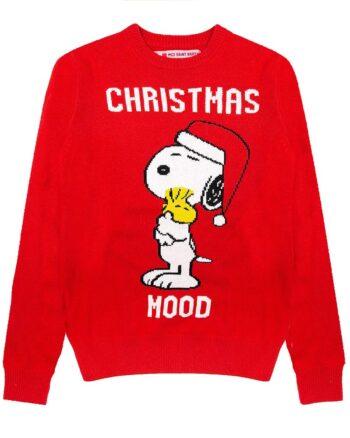 Maglione MC2 Saint Barth Snoopy Christmas mood rosso