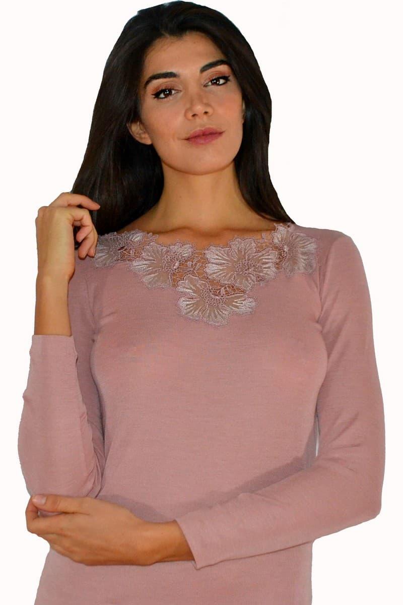 Maglia Oscalito manica lunga lana e seta liscia inserti in pizzo rosa