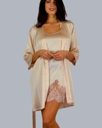 Chiara Fiorini kimono corto pura seta con cintura colori pesco - panna