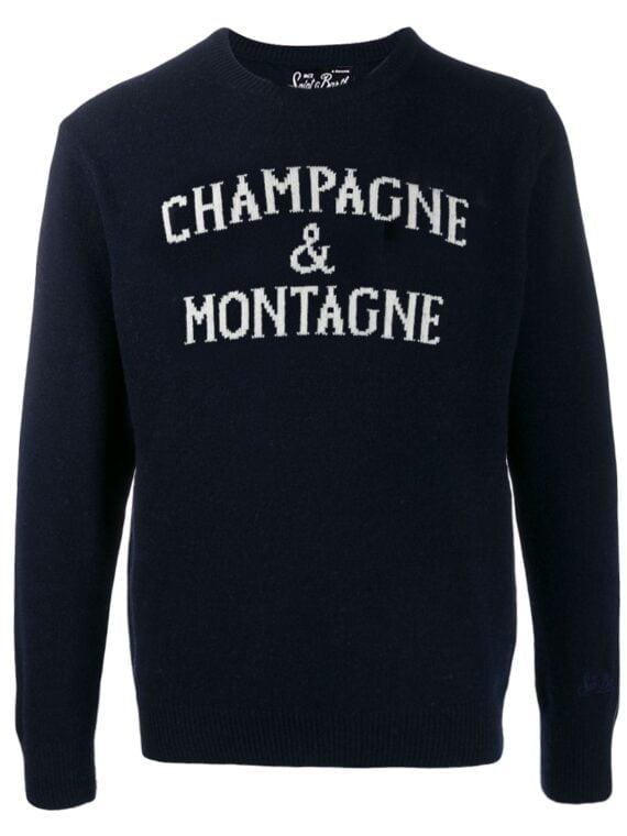 Maglione uomo MC2 Saint Barth blu Champagne & Montagne
