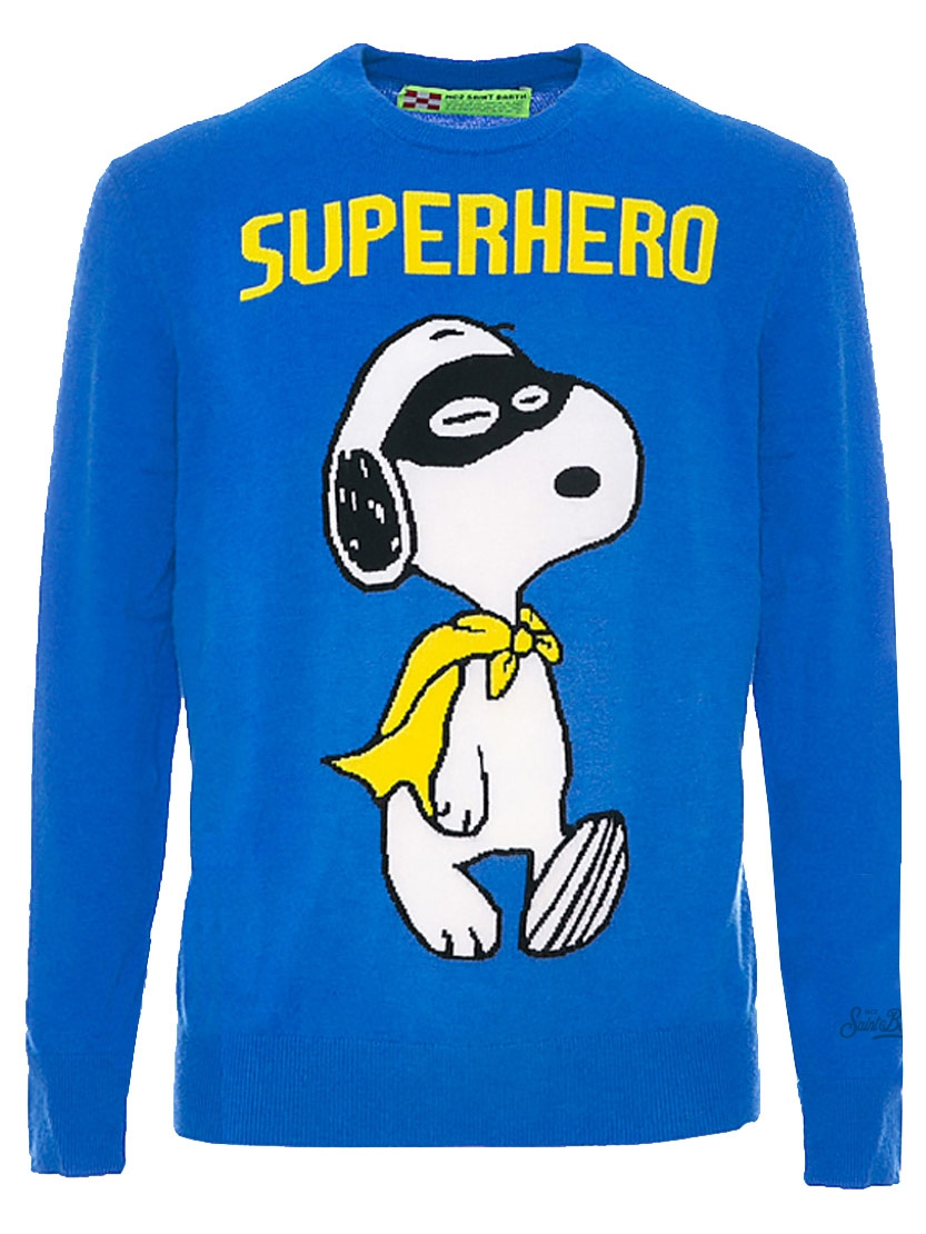Maglione uomo MC2 Saint Barth blu Snoopy limited edition