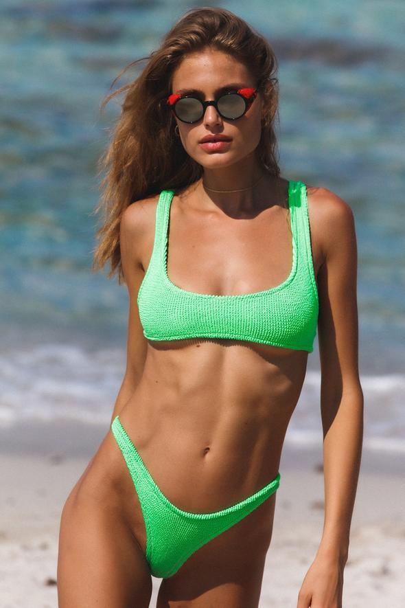 Reina Olga Bikini Ginny Set top e brasiliana verde fluo