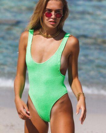 Reina Olga Costume intero Ruby Swimsuit sgambato verde fluo