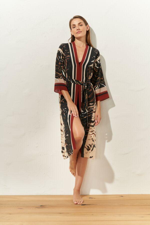 Maryan Mehlhorn Kimono scollo a V maniche a 3/4 wild dessert