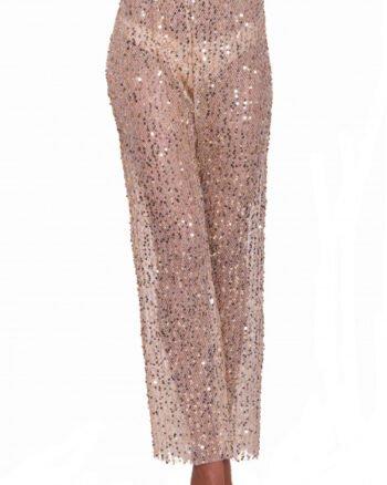 Pin-Up Stars Pantalone vita alta con paillettes oro